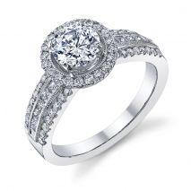 Wide Band Halo Engagement Ring