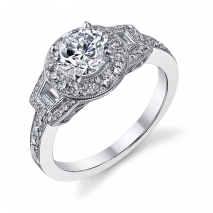 Halo Baugette Sides Engagement Ring
