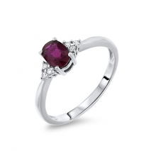 Ruby Ring with cluster sides