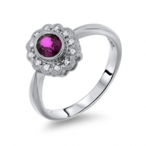 Oval Ruby Flower Solitaire