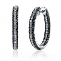 In And Out Black Diamond Hoops