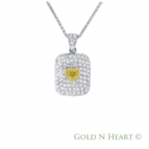 Yellow Diamond Heart Puffed Pendant