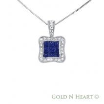 Square Sapphire Diamond Pendant