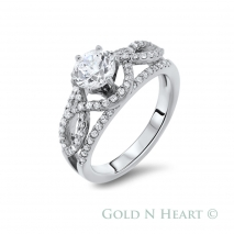Twist Center Diamond Engagement Ring
