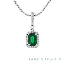 Emerald Cut Emerald with Diamond Halo