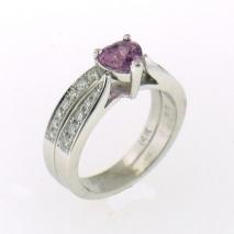 Pink Sapphire Engagement Set
