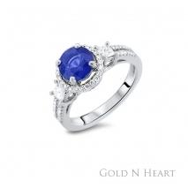 Gregg Ruth Round Sapphire Diamond Ring