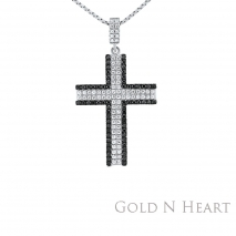 Sterling Black and White CZ Cross