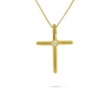 Yellow Gold Single Diamond Cross