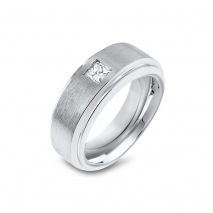 Men's Wide Band with a Single Princess Cut Diamond