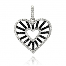Black and White CZ Heart