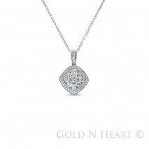 Flower Center Square Diamond Pendant