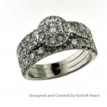 Three Row Diamond Wedding Set