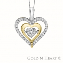 Shimmering Diamond Yellow Gold Heart