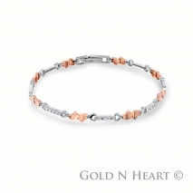 Rose Gold Double Heart Diamond Bracelet