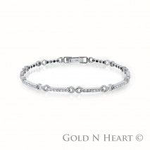White Gold Crecent Diamond Bracelet