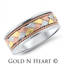 Tri-Color Gold Wedding Band