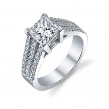Three Row Diamond Band with Princess Center