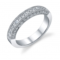 Princess Cut Channel Set Band with Pave Set Round Side Diamonds