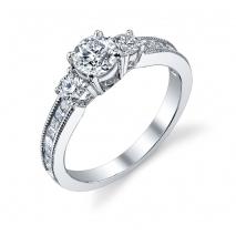 Three Stone with Channel Set Princess Diamonds